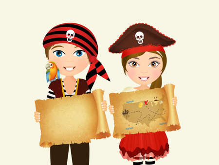 Enfants pirates avec carte de trésor Banque d'images - 83103479
