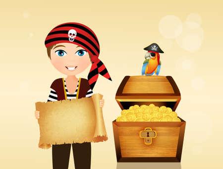 Pirate d'enfant avec trésor Banque d'images - 83136058