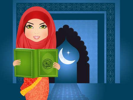 Muslim woman reading holy islamic book koran Stock Photo