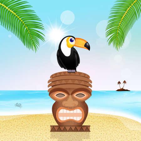 toucan on totem Stock Photo