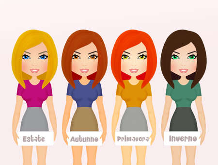 fall fashion: analysis seasonal color types of woman face, hair, skin and eyes