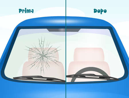 before and after windshield Repair