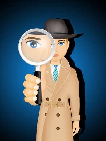illustration of Detective Stock Photo