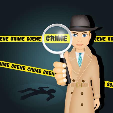 Detective on crime scene Stock Photo