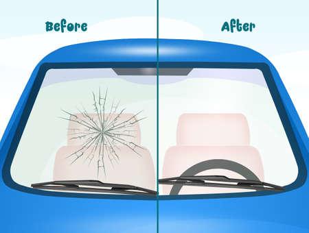 Antes y después de la reparación del parabrisas Foto de archivo - 83492505