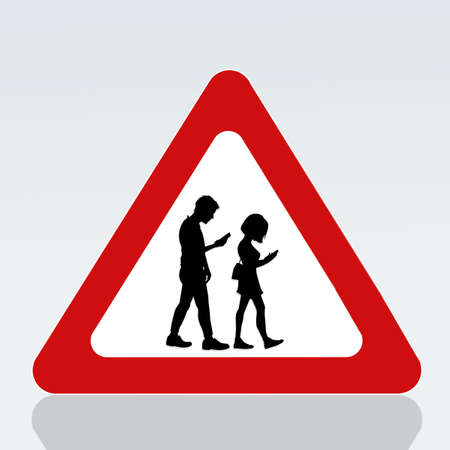 prohibition for walking with smartphone on the road signal