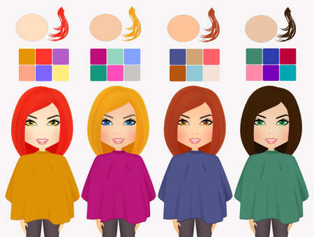 chromatic: analysis seasonal color types of woman face, hair, skin and eyes