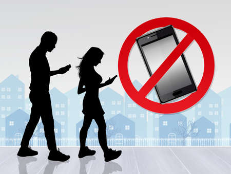 people walking with smartphone on the road