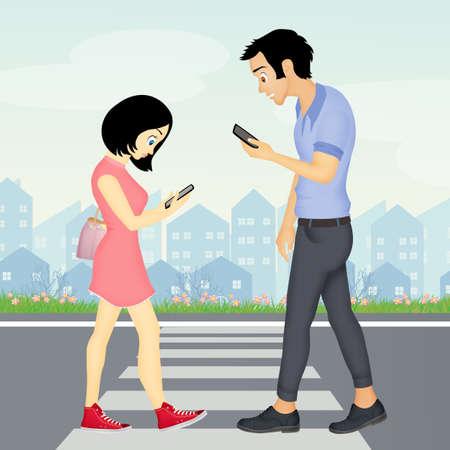 mensen lopen met smartphone op voetgangersoversteekplaats