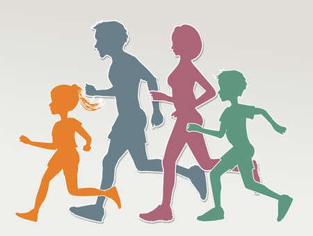 Ilustración de la familia corriendo