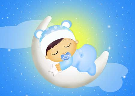 baby sleeping on the moon