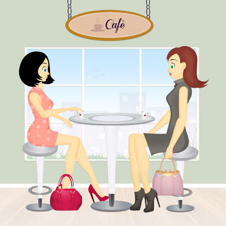 women drink cafe Stock Photo