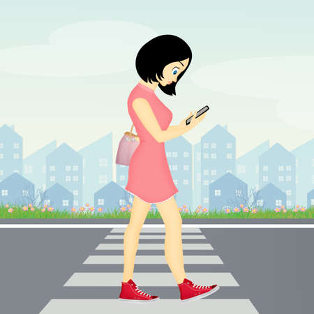 girl walking with smartphone on pedestrian crossing