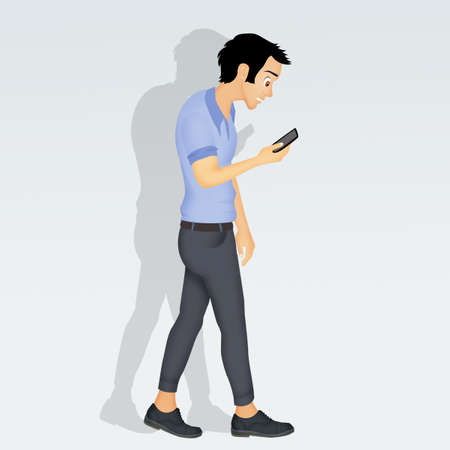man walking with smartphone