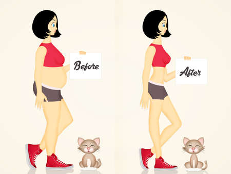 Girl and cat before and after the diet