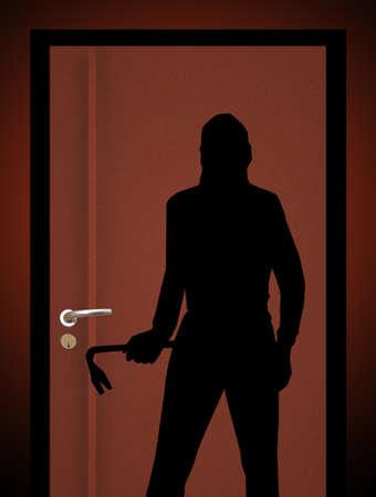 door handle: Thief at the door