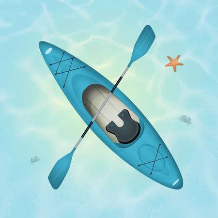 Illustratie van een kajak in de oceaan Stockfoto - 85421613