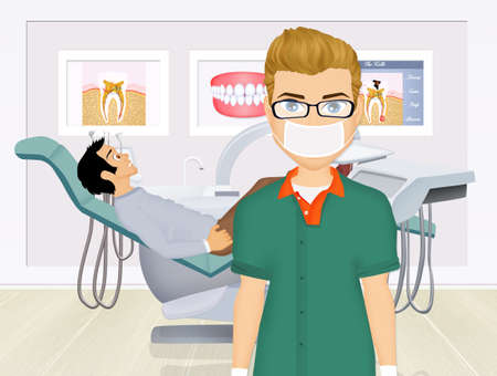 Dentist doctors office and patient with toothache