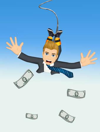 Businessman bungee jumping