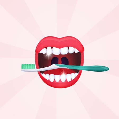 mond open met schone tanden