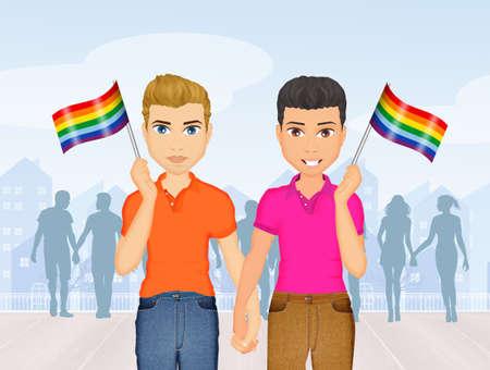 Pareja gay en el orgullo gay Foto de archivo - 85422124