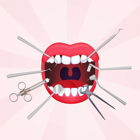 mouth open with dentist tools Stock Photo