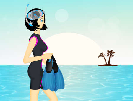 girl with mask and fins