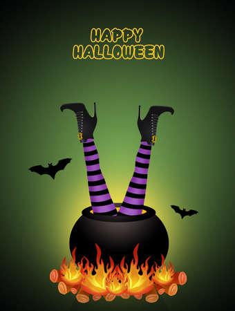illustration of Halloween postcard