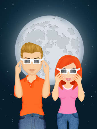 couple look the eclipse