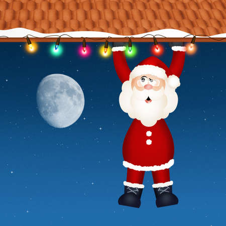 Santa Claus hanging on roof