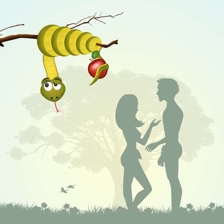 Adam and Eve with the fruit of sin Stok Fotoğraf - 86470126
