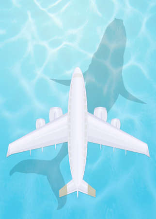 plane flying over the sea