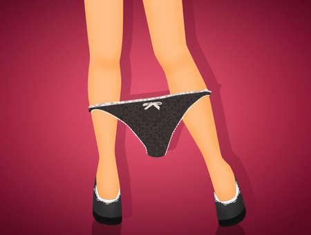 feminine legs with lace panties