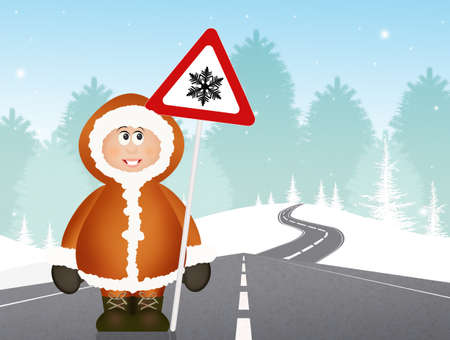 eskimo with road signal danger snow Stock Photo