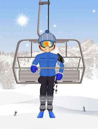 man on ski lift