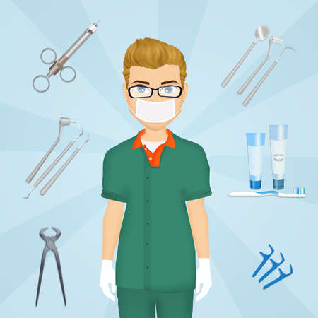 illustration of dentist tools Stock Photo
