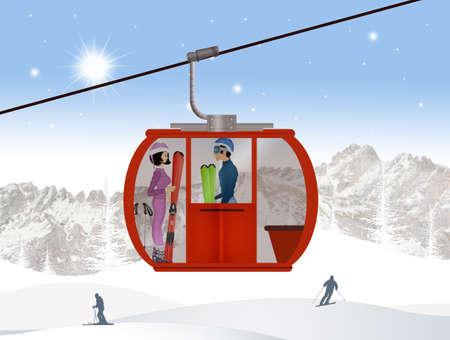 スキー場のリフトにスキーヤーのイラスト 写真素材