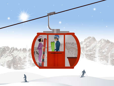 illustration of skiers on ski lift Stock Photo