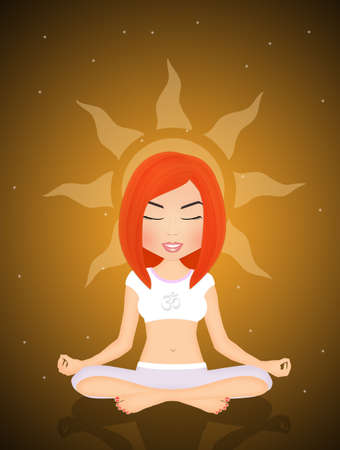 aura energy: spiritual girl in meditation