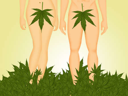 funny illustration of Adam and Eve in the Eden withe marijuana leaf