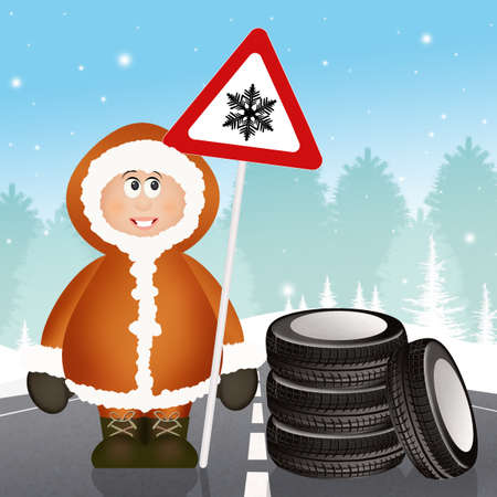 snow tires: Eskimo with snow tires Stock Photo