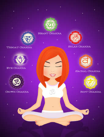 aura energy: seven chakras Stock Photo
