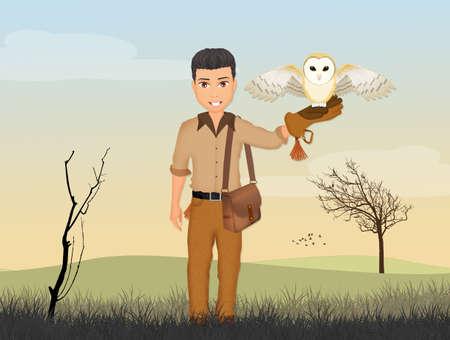 illustration of falconer