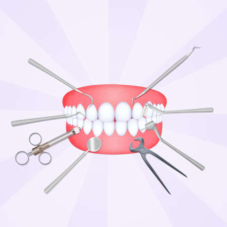 mouth with dentist tools Stock Photo