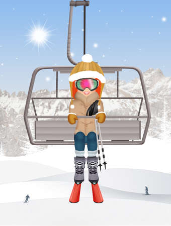 girl on ski lift Stock Photo