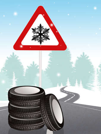 snow tires in winter Stock Photo