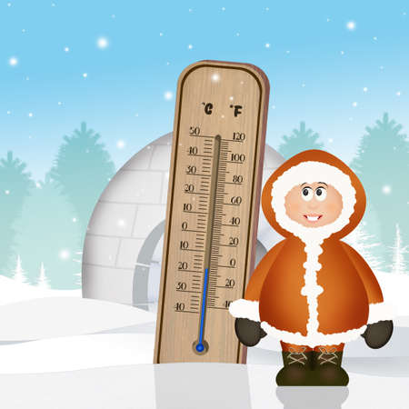 cold thermometer in winter Stock Photo