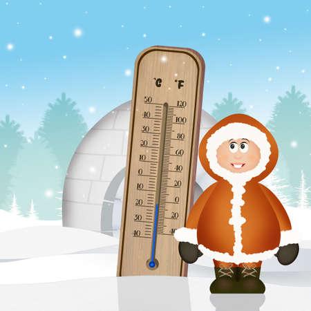 Thermomètre froid en hiver Banque d'images - 87668148