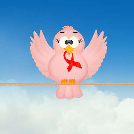 bird with red ribbon