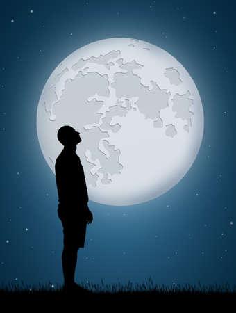 남자는 달을 본다. 스톡 콘텐츠